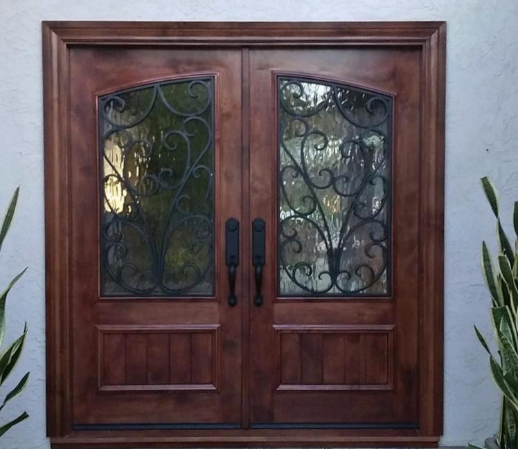 La Costa 2016 knotty Alder Mahogany color. Glass large Flemish & RUSTIC 101 - Entry Doors