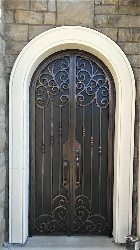 Rancho Carrillo 2017 Door-Gate and screen. 50\ w x 102\ H Color Copper hand patina & RUSTIC 101 - Wrought Iron Gates